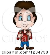 Clipart Of A Brunette School Boy Holding Onto His Backpack Straps Royalty Free Vector Illustration by dero