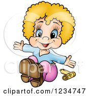 Clipart Of A Happy Blond Girl Doll And Batteries Royalty Free Vector Illustration by dero