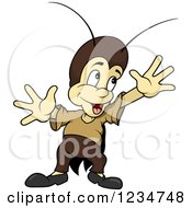 Clipart Of A Happy Cricket Holding His Hands Up Royalty Free Vector Illustration