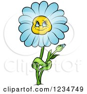Clipart Of A Blue Daisy Flower Character Royalty Free Vector Illustration