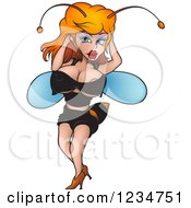 Clipart Of A Sexy Female Wasp Royalty Free Vector Illustration