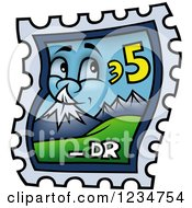 Clipart Of A Happy Sky And Mountain Postage Stamp Royalty Free Vector Illustration