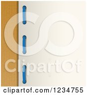 Clipart Of Blue Yarn Through Holes In A Card Over Brown Paper Royalty Free Vector Illustration