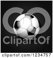 Clipart Of A 3d Reflective Soccer Ball Over Black Mesh Royalty Free Vector Illustration by elaineitalia