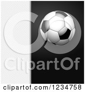 Clipart Of A 3d Soccer Ball Over Black And White Mesh Panels Royalty Free Vector Illustration by elaineitalia