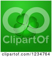 Clipart Of A Green Four Leaf Clover Over Leather Royalty Free Vector Illustration by elaineitalia