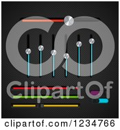 Clipart Of 3d Chrome And Colorful Slider Equalizer And Bar Switches On Black Mesh Royalty Free Vector Illustration