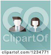 Clipart Of Male And Female Avatar Users On Blue Royalty Free Vector Illustration