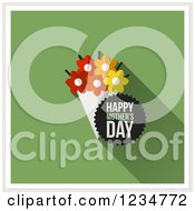 Clipart Of A Flower Bouquet And Happy Mothers Day Text On Green Royalty Free Vector Illustration by elena