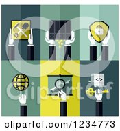 Clipart Of Digital Currency Business Icons Royalty Free Vector Illustration by elena