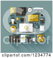 Clipart Of Bitcoin And Business Icons Royalty Free Vector Illustration by elena