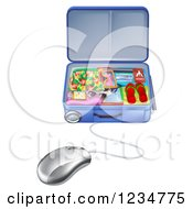 Clipart Of A Computer Mouse Connected To A Vacation Suitcase Royalty Free Vector Illustration