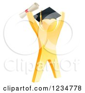 Clipart Of A 3d Gold Man Graduate Cheering With A Diploma Royalty Free Vector Illustration by AtStockIllustration