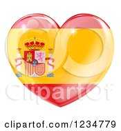 Clipart Of A 3d Reflective Spanish Flag Heart Royalty Free Vector Illustration