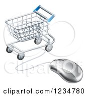 Clipart Of A 3d Computer Mouse Wired To A Shopping Cart Royalty Free Vector Illustration