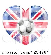 Clipart Of A 3d Reflective British Union Jack Flag Heart And Soccer Ball Royalty Free Vector Illustration by AtStockIllustration