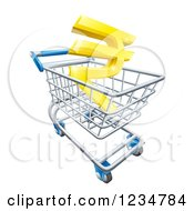 Clipart Of A 3d Golden Rupee In A Shopping Cart Royalty Free Vector Illustration