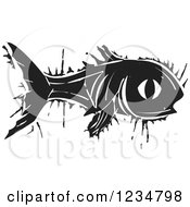 Clipart Of A Black And White Woodcut Fish Royalty Free Vector Illustration by xunantunich