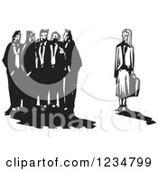 Clipart Of A Black And White Woodcut Group Of Men Excluding A Business Woman Royalty Free Vector Illustration