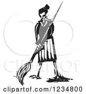 Clipart Of A Black And White Woodcut Artist Woman With A Giant Paintbrush Royalty Free Vector Illustration by xunantunich