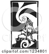 Clipart Of A Black And White Woodcut God Thor Holding A Hammer Over A Swirl Royalty Free Vector Illustration by xunantunich