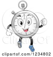 Clipart Of A Happy Stopwatch Character Running Royalty Free Vector Illustration by BNP Design Studio