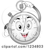 Clipart Of A Happy Stopwatch Character Pressing A Button Royalty Free Vector Illustration by BNP Design Studio
