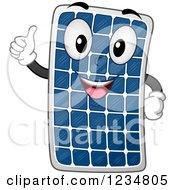 Happy Solar Panel Mascot Holding A Thumb Up