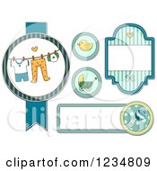 Clipart Of Blue Baby Boy Labels And Designs Royalty Free Vector Illustration