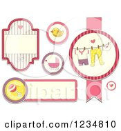 Clipart Of Pink Baby Girl Labels And Designs Royalty Free Vector Illustration