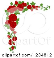 Clipart Of A Corner Border Of Beautiful Red Roses And Leaves Royalty Free Vector Illustration by BNP Design Studio