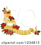 Clipart Of A Yellow Corner Ribbon Banner With Red Roses Royalty Free Vector Illustration by BNP Design Studio