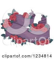 Clipart Of A Purple Ribbon Banner With Red Roses Royalty Free Vector Illustration