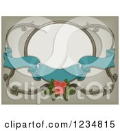 Clipart Of A Turquoise Ribbon Banner With A Pink Rose And A Frame Royalty Free Vector Illustration