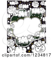 Clipart Of A Doodled Counting Sheep Frame Background Royalty Free Vector Illustration