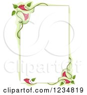Clipart Of A Border Of Vines And Pink Flowers Royalty Free Vector Illustration