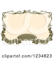 Clipart Of A Vintage Green Ribbon Banner And Floral Frame Around Beige Royalty Free Vector Illustration