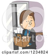 Clipart Of A Sad Fired Caucasian Businessman Carrying His Box Of Office Items Royalty Free Vector Illustration by BNP Design Studio
