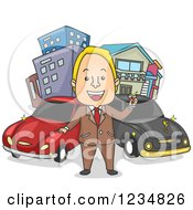 Clipart Of A Rich Caucasian Man Toasting In Front Of His Cars And Buildings Royalty Free Vector Illustration