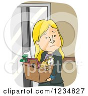 Clipart Of A Sad Fired Blond Caucasian Businesswoman Taking Her Belongings Royalty Free Vector Illustration