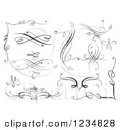 Clipart Of Black Swirl Design Elements Royalty Free Vector Illustration
