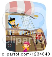 Clipart Of Pirate Kids And Captain On A Ship Royalty Free Vector Illustration by BNP Design Studio