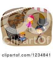 Clipart Of Pirate Kids And Captain On A Ship Deck Royalty Free Vector Illustration by BNP Design Studio