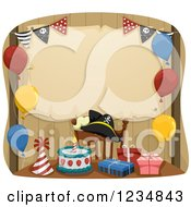 Clipart Of A Pirate Themed Birthday Party Setup And Parchment Sign Royalty Free Vector Illustration