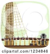 Clipart Of A Barrel Balls And Cannon On A Ship Deck Royalty Free Vector Illustration by BNP Design Studio