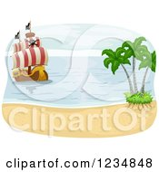 Clipart Of A Beach And Approaching Pirate Ship Royalty Free Vector Illustration by BNP Design Studio