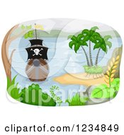 Clipart Of A Tropical Island And Pirate Ship Appraoching Royalty Free Vector Illustration by BNP Design Studio