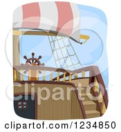 Clipart Of Stairs Leading To A Pirate Ship Helm Royalty Free Vector Illustration by BNP Design Studio