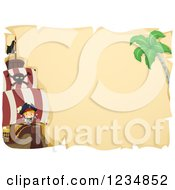 Clipart Of A Boy Pirate Captain On A Ship Over Parchment Royalty Free Vector Illustration