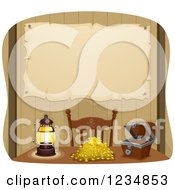 Clipart Of A Parchment Map Pinned Behind A Pirate Table With Gold Treasure Royalty Free Vector Illustration by BNP Design Studio